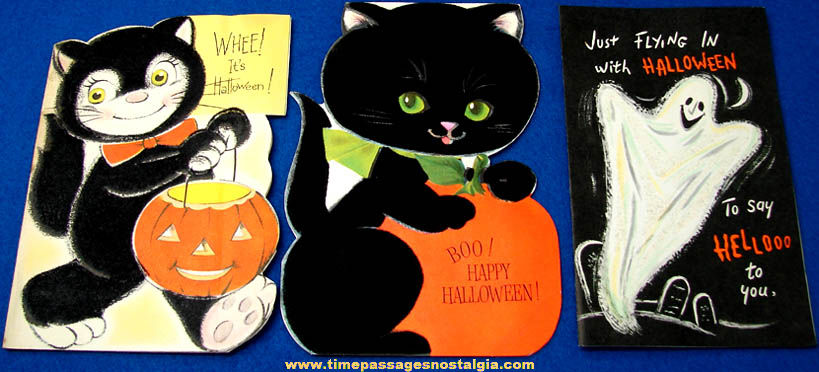 (3) Colorful 1969 Halloween Holiday Greeting Cards