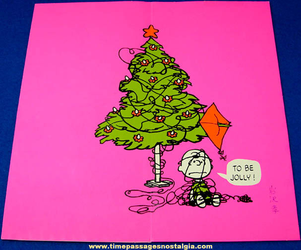 colorful  charles schulz peanuts hallmark christmas greeting, Greeting card