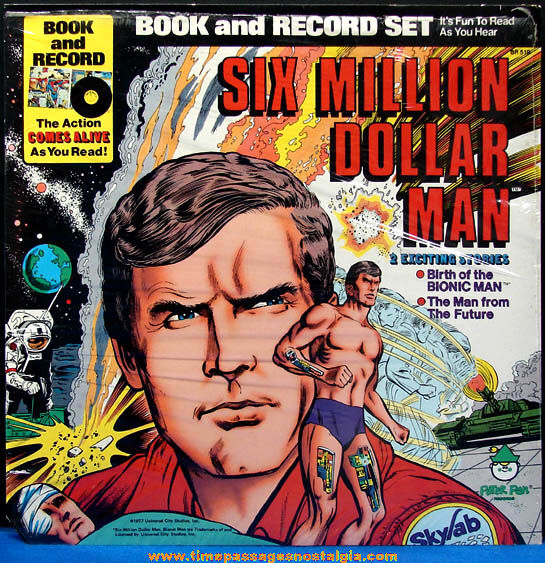 �1977 Unused Six Million Dollar Man Book & Record Album Set
