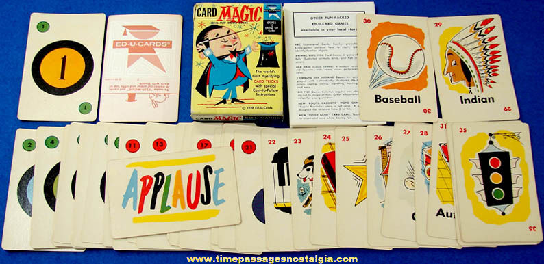 Boxed ©1959 Ed-U-Cards Card Magic Deck With Flip Movie Backs
