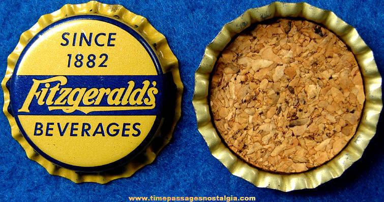 (33) Old Unused Cork Lined Fitzgerald's Beverages Soda Bottle Caps