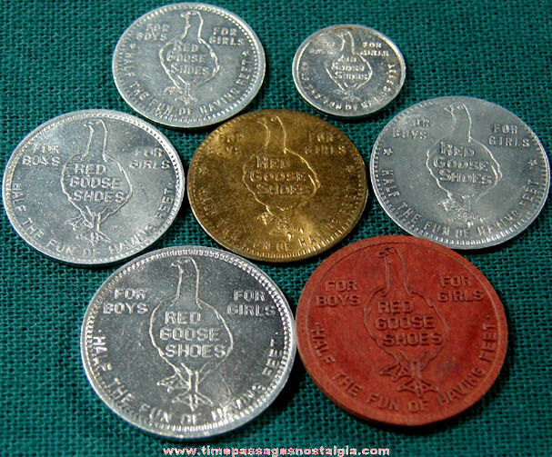 (6) Old Red Goose Shoes Advertising Premium Token Coins