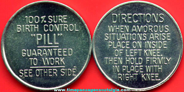 (9) Metal 100% Guaranteed Birth Control Pill (coins)
