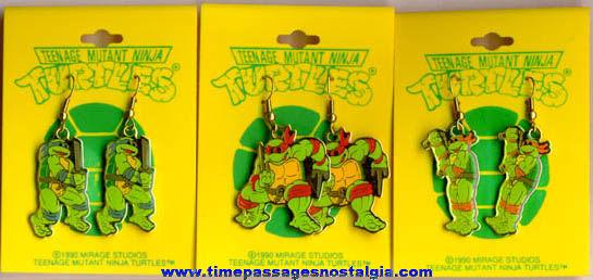 (3) Unused ©1990 Pairs Of Carded Teenage Mutant Ninja Turtles Figure Earrings
