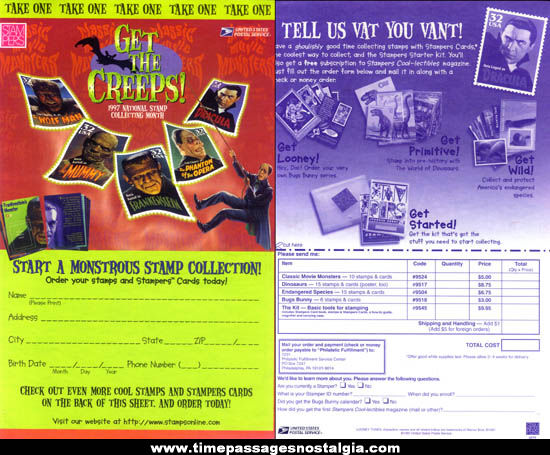 ©1997 Universal Monsters U.S. Postage Stamp Order Form Advertising Poster