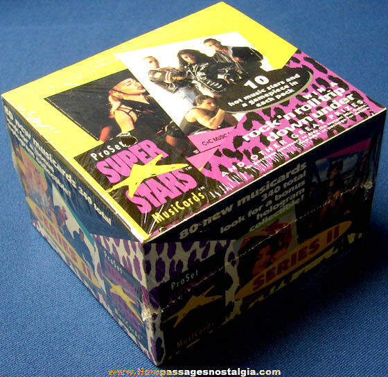 Unopened ©1991 Case Box of ProSet Super Stars Second Series Music Cards