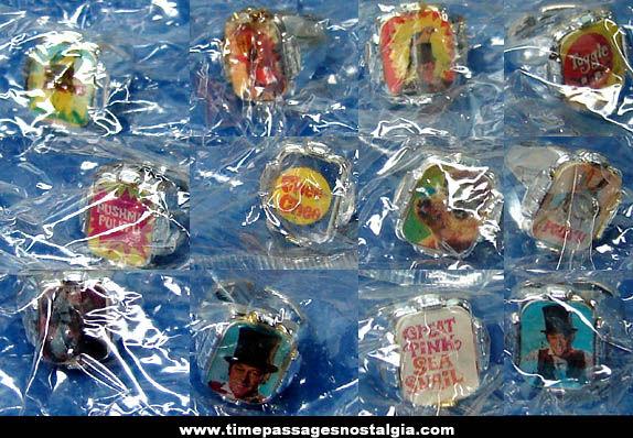 Set of (12) Unopened 1960s Dr. Dolittle Cereal Prize Flicker Toy Rings