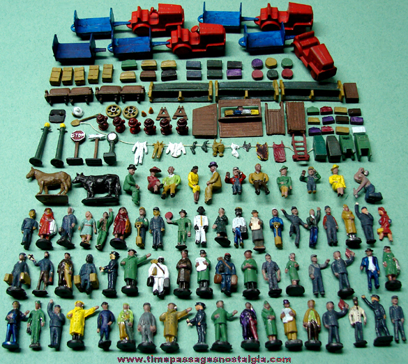 (160) Old Painted Miniature Lead Train Station Play Set Figures & Objects