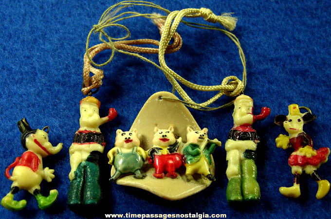 (5) Old Hand Painted Comic Strip or Cartoon Character Celluloid Charms