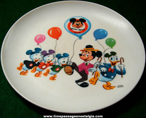 Colorful Old Mickey Mouse Club Character Childrens Dinner Plate