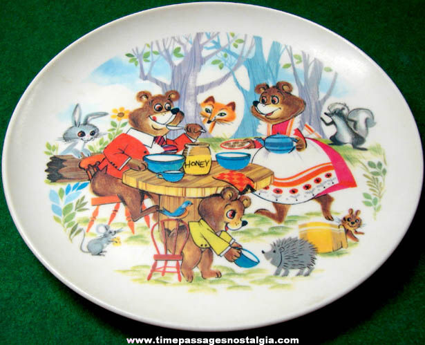 Colorful Old Three Bears Nusery Rhyme Character Childrens Dinner Plate