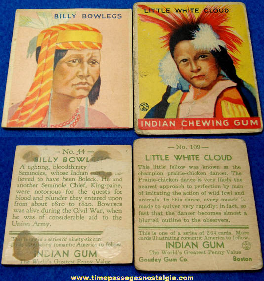 (2) Different 1930s Goudey Indian Chewing Gum Trading Cards