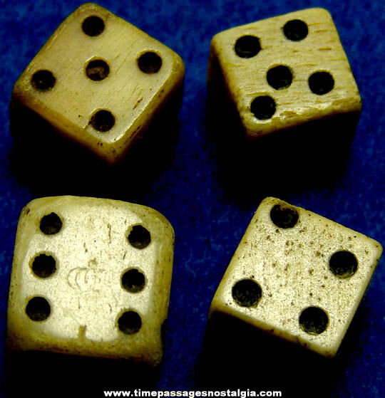 (4) 18th Century Miniature Bone Dice (One has tax marks)