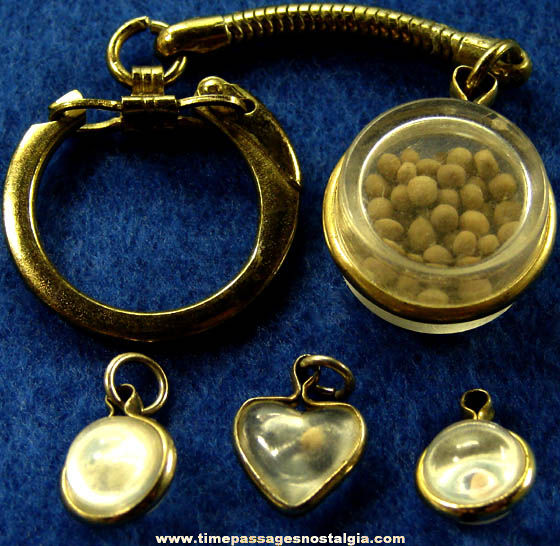 (4) Old Christian or Catholic Religion Mustard Seed Jewelry Charms
