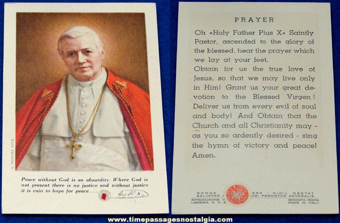 Old Pope Pius X Religious Relic Card