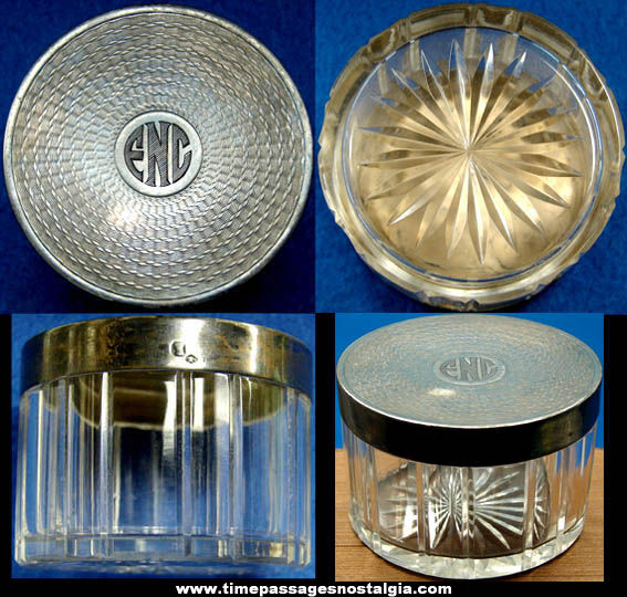 Old Art Deco Monogramed Glass & Silver Make Up Jar