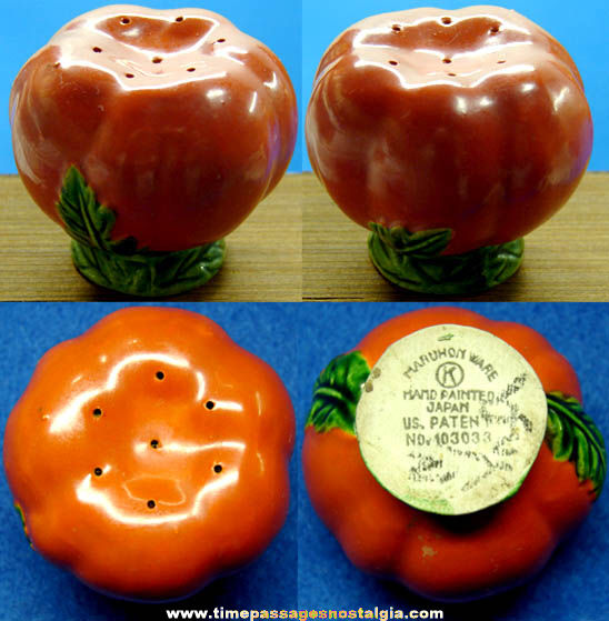 Colorful Old Maruhon Ware Tomato Salt or Pepper Shaker