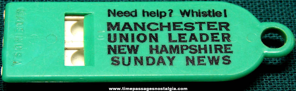 Old Manchester Union Leader New Hampshire Newspaper Advertising Premium Whistle