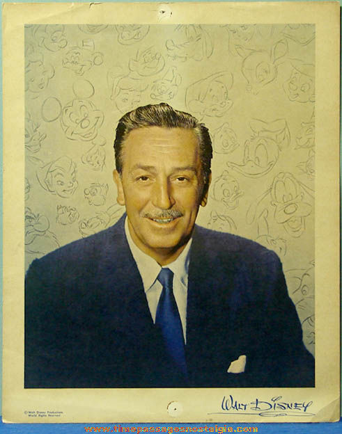 Old Walt Disney Disneyland Souvenir Portrait Picture
