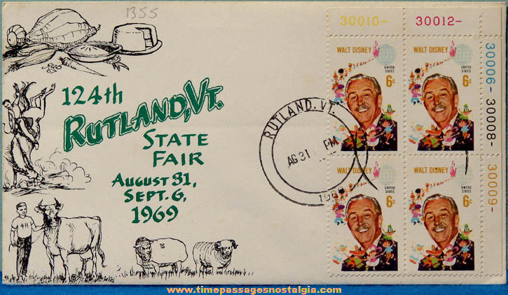 1969 Rutland Vermont State Fair Souvenir Cover With Walt Disney Stamps