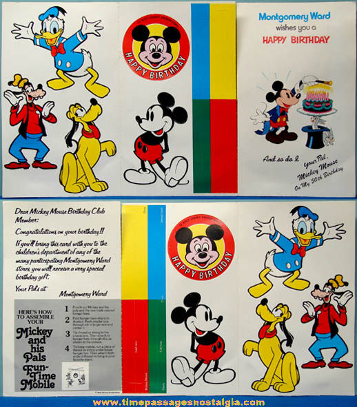 Unused 1978 Montgomery Ward Mickey Mouse Birthday Club Card With Punch Out Mobile
