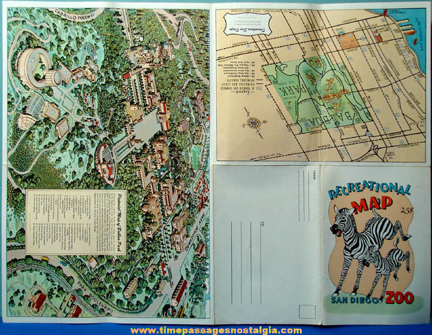 Colorful Old San Diego Zoo Balboa Park Two Sided Advertising Souvenir Map