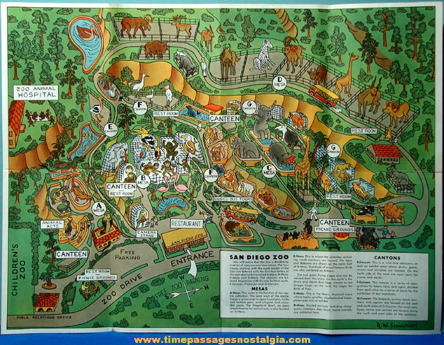 Colorful Old San Diego Zoo & Balboa Park Two Sided Advertising Souvenir Map