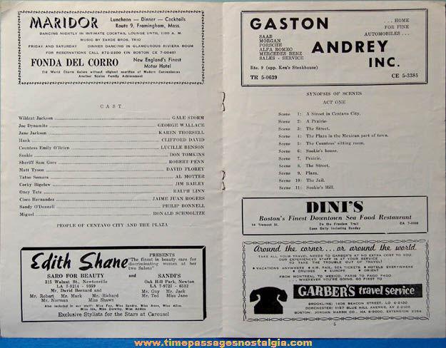1962 Gale Storm Autographed Carousel Theatre Program