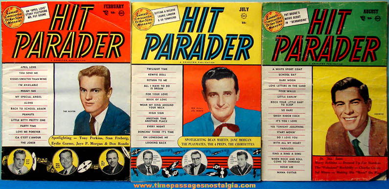 (3) Different 1957 - 1958 Hit Parader Music Magazines