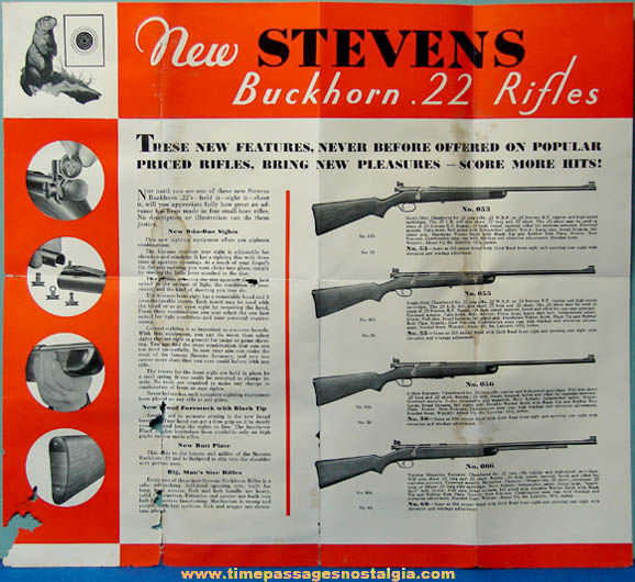 Old Stevens Rifle Advertising Brochure With Frank Buck