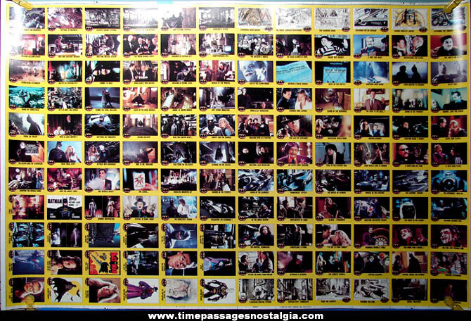 Complete Uncut Sheet of (132) ©1989 Batman Movie 2nd Series Trading Cards