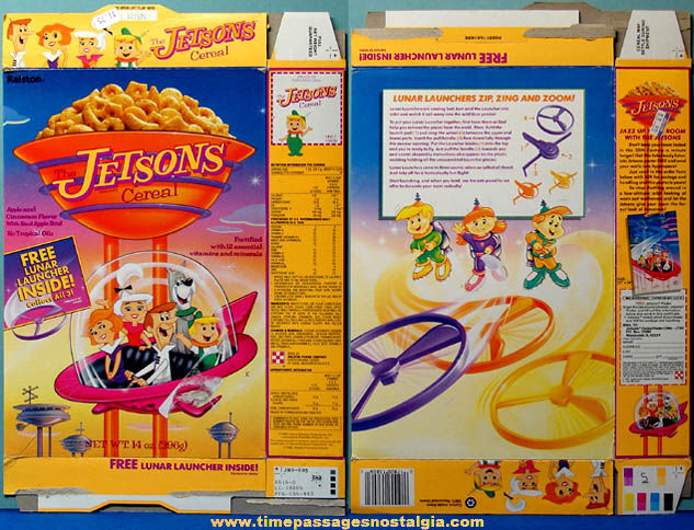 Colorful ©1990 Ralston Jetsons Cereal Box With Lunar Launcher Toy Prize
