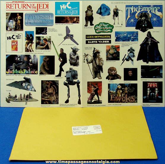 Unused ©1983 Star Wars Coca Cola Hi-C Advertising Premium Sticker Sheet With Mailer