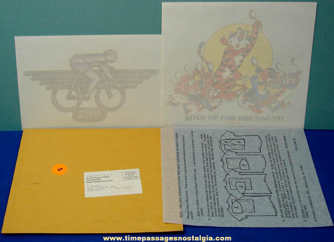 Unused ©1980 Kelloggs Cereal & Schwinn Bicycle Advertising Premium Iron On Transfers With Mailer