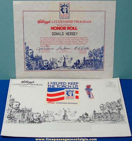 (4) ©1982 Kellogg's Cereal Statue of Liberty Citizenship Honor Roll Premium Items