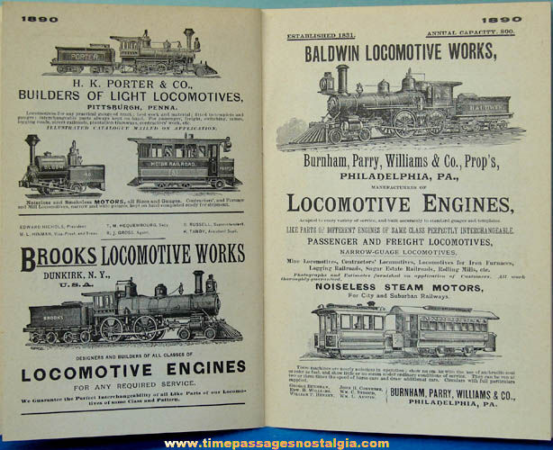 ©1960 Locomotive Advertising in America 1850 - 1900 Book