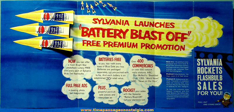 Colorful 1960 Sylvania Photo Battery Two Sided Diecut Advertising Poster