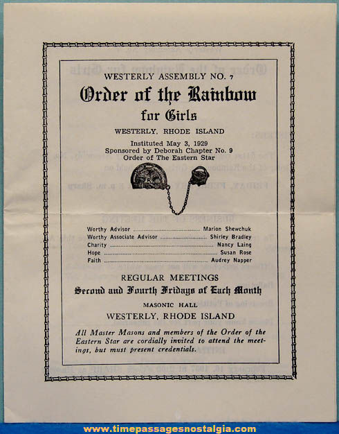 (31) 1953 - 1957 Order of The Rainbow For Girls Meeting Programs