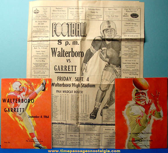 (2) 1964 Walterboro High School South Carolina Football Game Programs & Newspaper