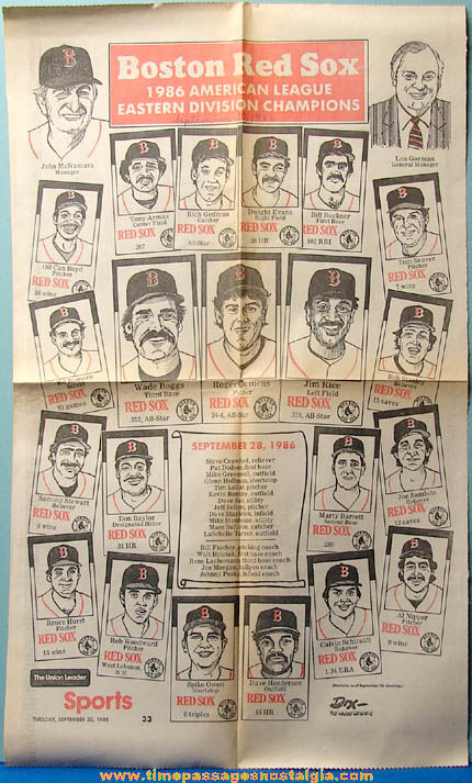 1986 Boston Red Sox Baseball Eastern Division Champion Newspaper Advertisement