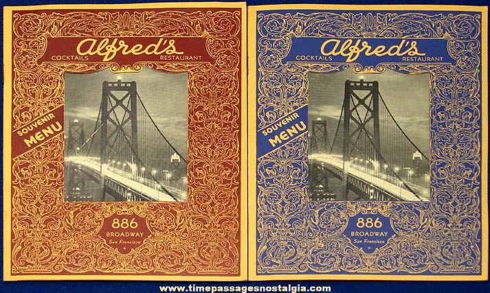 (2) Old Alfred's Restaurant San Francisco California Souvenir Menus