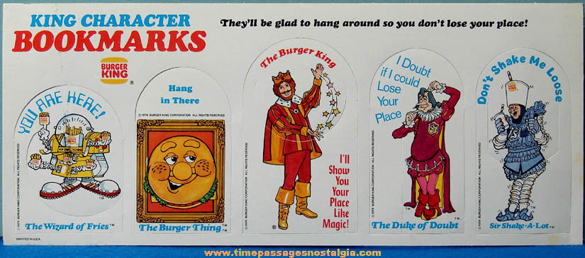 Sheet of (5) Unpunched ©1979 Burger King Restaurant Premium Diecut Character Bookmarks