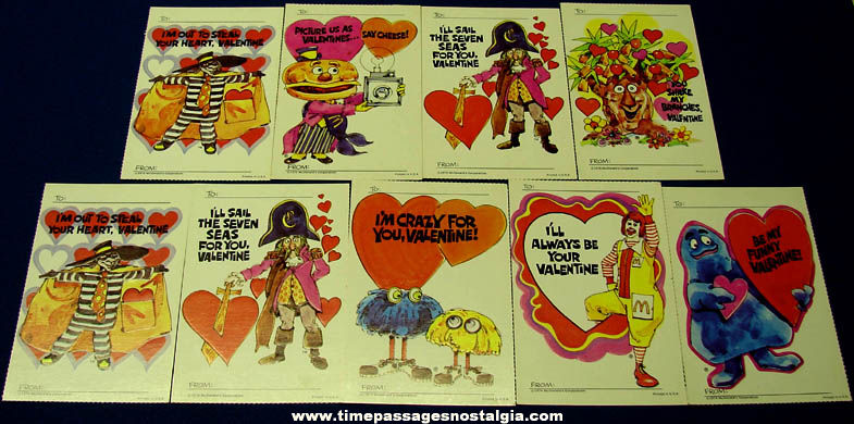 (9) Unused ©1974 McDonalds Advertising Character Embossed Valentine Cards