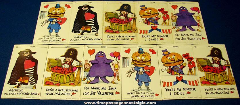 (11) Unused ©1978 McDonalds Advertising Character Valentine Cards