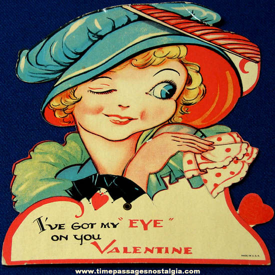 Colorful Old Unused Mechanical Valentine Greeting Card