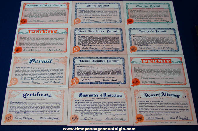 (12) Unused ©1941 License To Do Anything Exhibit Supply Arcade Cards