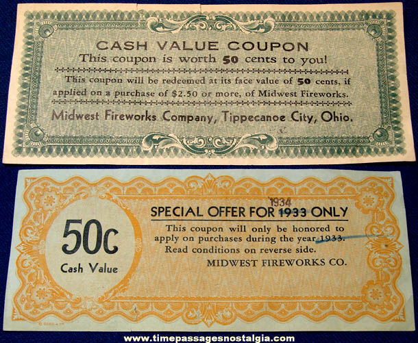 1933 - 1934 Midwest Fireworks Company Advertising Coupon