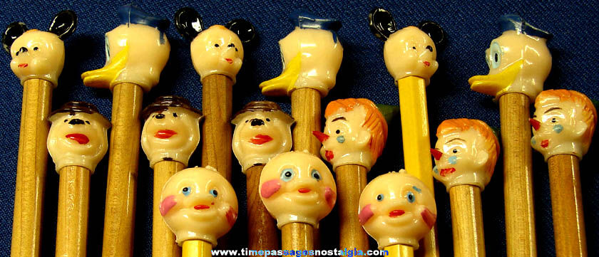 (15) Old Painted Plastic Cartoon Character Pencil Top Heads
