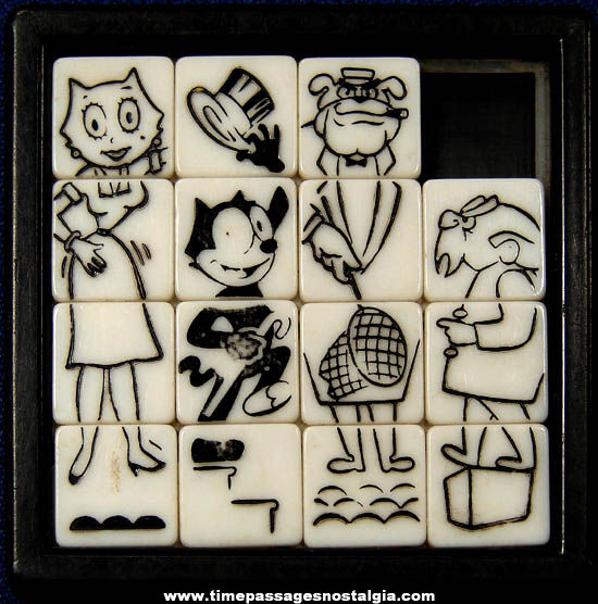 Old Felix The Cat Cartoon Character Toy Slide Puzzle