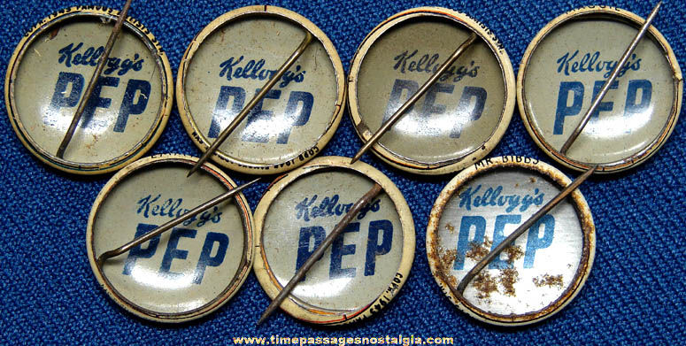 (7) 1940s Kellogg's PEP Cereal Prize Comic Character Pin Back Buttons